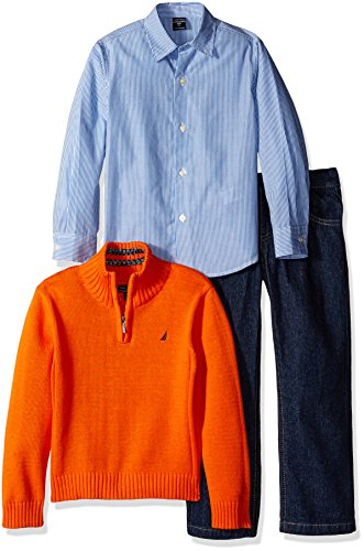 nautica-little-boys-toddler-three-piece-set-with-woven-shirt-quarter-zip-sweater-and-pant-orange-2t