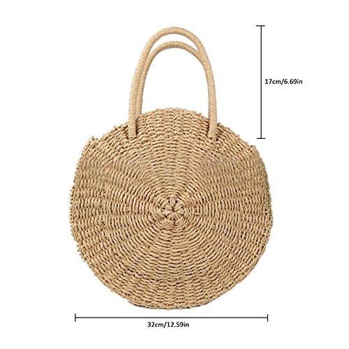 mujer playa de Pure bolsa niña de Paja viaje Mujer Mano Bolsa retro para ideal vacaciones imitación ratán nbsp;– de diseño bolsa playa bolsa redonda redondo hierba verano nbsp;fancylande de regalo de qf1twp