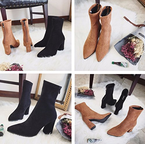 Women Fashion Comfy Pointed Toe Block Heel Ankle Boots Stretchy Faux Suede Fashion Sock Boots Zipper Chunky Bootie Brown GW282