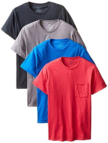 Fruit of The Loom Men's 4-Pack Pocket Crew-Neck T-Shirt - Colors May Vary (Assorted Colors, Large) ()