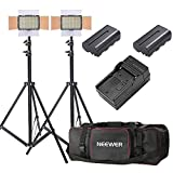 Neewer 2-Pack OE-160 Lighting Studio Light and Stand Kit Includes: (2)5600K Dimmable LED Video Light, (2)26-75 inches Light Stand, (2)Battery, (1)Charger, (1)Case for Studio and Product Photography