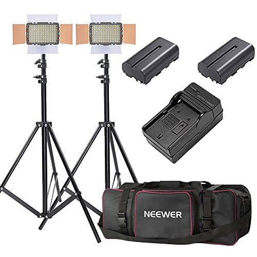 Neewer 2-Pack OE-160 Lighting Studio Light and Stand Kit Includes: (2)5600K Dimmable LED Video Light, (2)26-75 inches Light Stand, (2)Battery, (1)Charger, (1)Case for Studio and Product Photography by Neewer