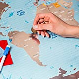 Deluxe Scratchable Off World Map - Large Places I've Been World Travel Map - Great Scratchable World Map Gift For Any Traveller - Made From Flexible Plastic to Last Longer - Gift by 1DEA.me