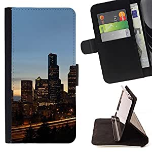 For Samsung Galaxy S6 EDGE Chicago City Style PU Leather Case Wallet Flip Stand Flap Closure Cover