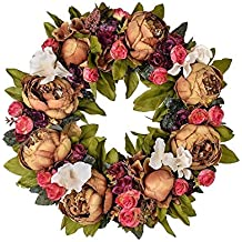 14inch Flower Wreath Handmade Artificial Floral Silk Wreath for Front Door Home Wall Wedding Decoration (14inch, A)