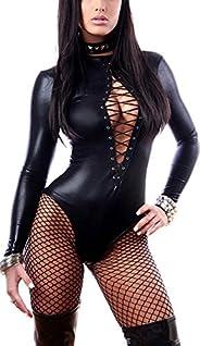 Rozegaga Womens Faux Leather Skin-Tight Long Sleeve Bodysuit Clubwear Party Dress