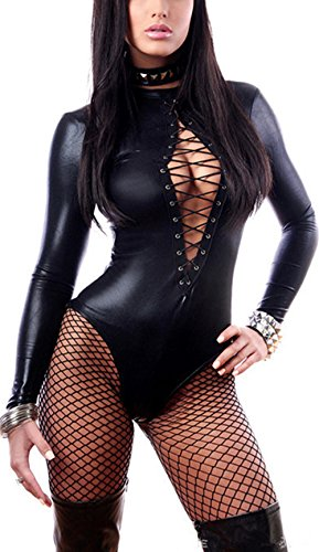(Rozegaga Womens Sexy Faux Leather Skin-Tight Long Sleeve Bodysuit Lingerie Medium Black )