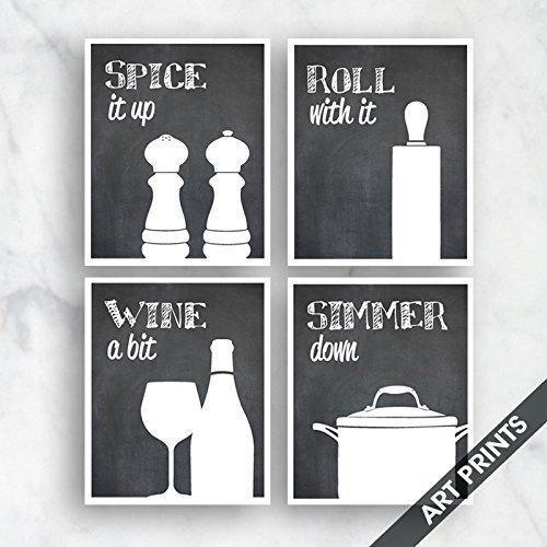 Funny Kitchen Art Print Set Salt Pepper Rolling Pin Wine Simmer Pot