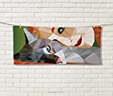 Anniutwo Animal,Sports Ttowel,Geometrical Mosaic Little Cute Cat Owner Women Smiling Sleeping Couple Image,Absorbent Towel,Multicolor Size: W 12'' x L 35.5''