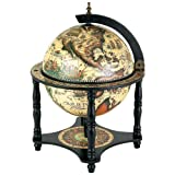 13 Inch Hand Painted Globe with Bar