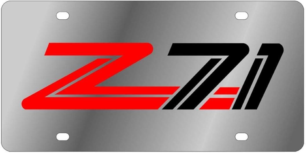 Eurosport Daytona Stainless Steel Z71 Design Red Black License Plate Frame 3D Novelty Tag