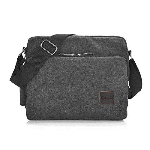 GSTEK Messenger Tasche Kuriertasche Umhängetasche, Unisex Casual Vintage Stoff Rucksack (Schwarz)