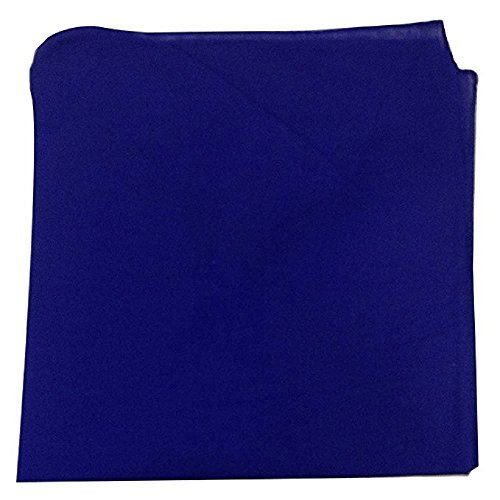 Solid 100% Cotton Unisex Bandana - 12 Pack Royal Blue 22 in -