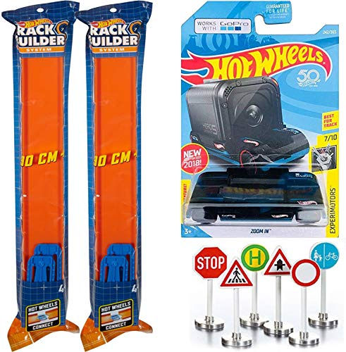 Go Experiment Zoom in Pro hot Wheels POV Video Recorder Track Car + 6 Feet of Orange Straight Set with 8 Blue System Connector Pieces Car 2 - Pack Fun Stunt Bundle + 6 Mini Street Signs City Scene (Hot Wheels Camera Car)