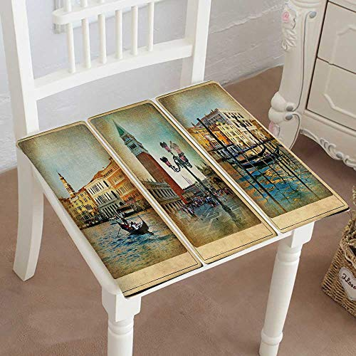 (Mikihome Chair Pads Squared Seat Romantic Venice Retro Cards Outdoor Dining Garden Patio Home Kitchen Office 14