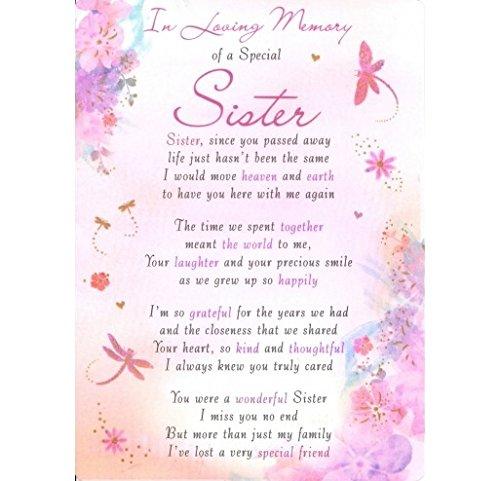 In Loving Memory Sister Grave Graveside Remembrance Card Keepsake