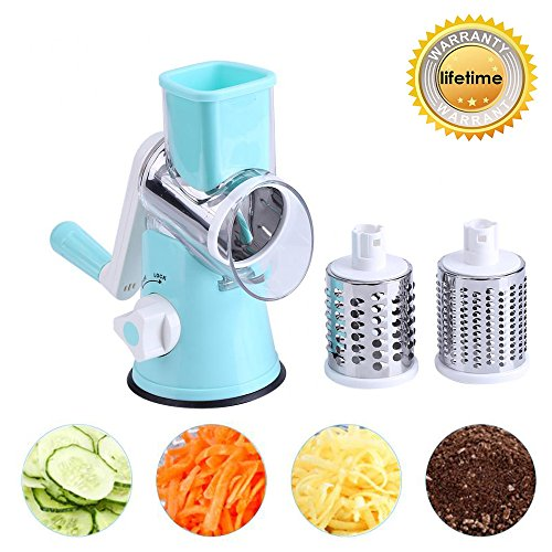 Vegetable Mandoline Manual Slicer, ZOLLOR Fast Fruit Veggie Spiralizer Cutter , Cheese Chopper Shredder, 3 Stainless Steel Blades Rotary Drum (Rotary Slicer)