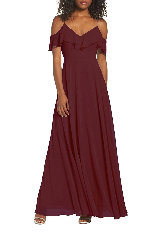 Burgundy FeiYueXinXing Women's V Neck Cold Shoulder Prom Gown Long Bridesmaid Dresses Evening Skirt