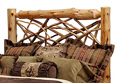Fireside Lodge Furniture Traditional Cedar Hand Crafted and Hand Lacquered Northern White Cedar Twig Log Queen Size Headboard, Traditional Cedar, Queen Size Headboard - Lodge Bedroom Furniture