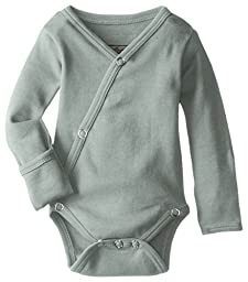 L\'ovedbaby Unisex-Baby Organic Cotton Kimono Long Sleeve Bodysuit, Seafoam, 0/3 Months