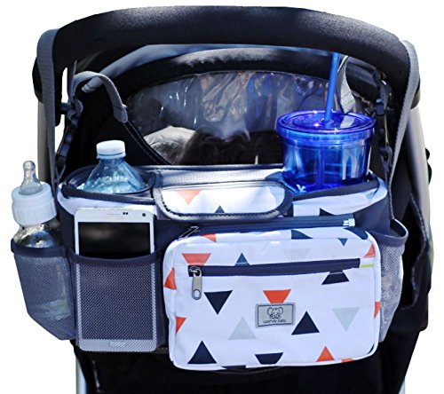 PREMIUM STROLLER ORGANIZER, Easily Fits All Strollers, Deep Insulated Cup Holders, Removable Pouch, Large Expandable Mesh Pockets for Iphones, Diapers, Toys, and More, The Perfect Baby Shower Gift!