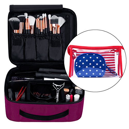 Portable Travel Makeup Case with Bags 9.8'' (Hot Pink)