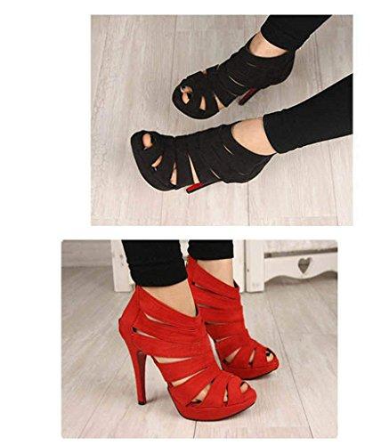 da Scarpe Alto Sandali Sexy Rosso Tacco con d'estate Donna 7dwOxwqS
