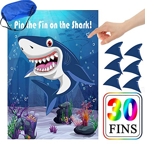 Pin The Fin On The Shark Party Games for Kids Birthday Party Decorations Baby Shark Party Supplies Game - 30 Fins ()