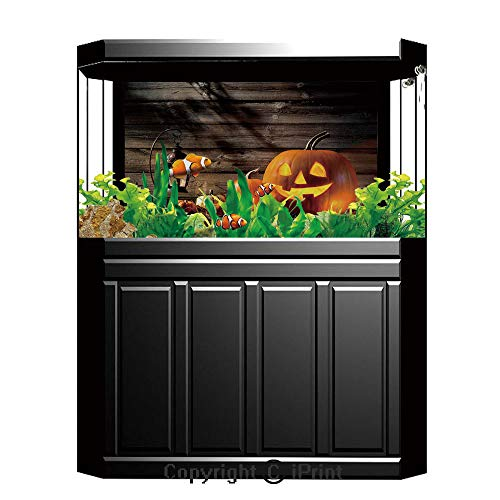 Terrarium Fish Tank Background,Halloween,Grinning Expression Pumpkin Country House Squash Bunch on Wooden Planks Image,Brown Orange,Photography Backdrop for Pictures Party Decoration,W48.03