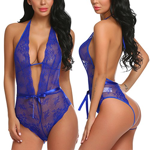 ADOME Lingerie Lace Badydoll One Piece Teddy Bodysuit Hater Chemise features Plunging V Neckline, Style1-dark Blue, Medium by ADOME
