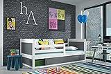 Kinderbett Holzbett RICO 1 Farbe Weiß 200/90 mit Matratze + Lattenrost inkl.