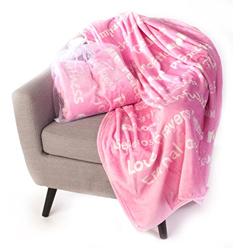 BlankieGram Faith Throw Blanket with Inspirational Thoughts and Prayers (Pink)