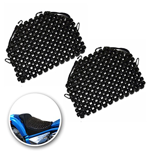 VaygWay Motorcycle Seat Cover Black Wooden Beaded Seat Cushion Massaging Car Chair Cover Tractor Wood Bead Comfort Pad - 2pcs for Vehicle, Cars - Motorcycle Seat Cover