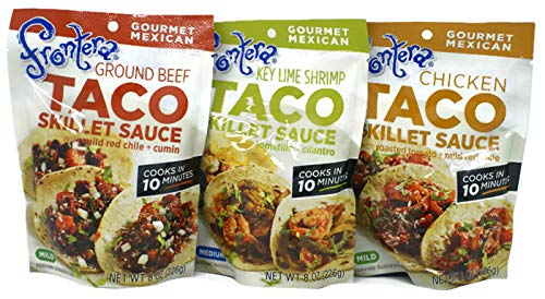 Variety Pack - Frontera Gourmet Mexican Taco Skillet Sauce (8 Oz) - Ground Beef w/Mild Red Chile & Cumin, Chicken w/Roasted Tomato & Mild Red Chile, Key Lime Shrimp w/Tomatillo & Cilantro