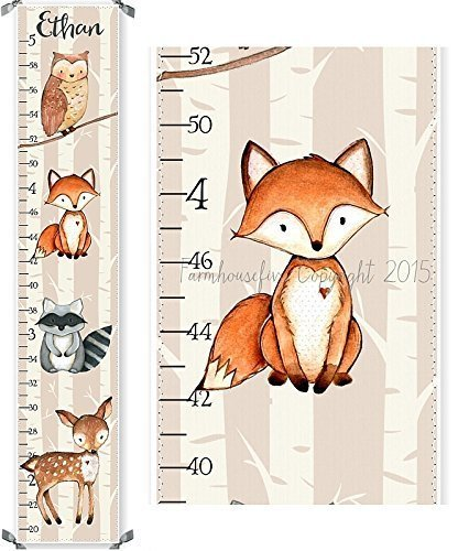 Woodland Fox Raccoon Owl and Deer Canvas Boys or Girls Growth Chart