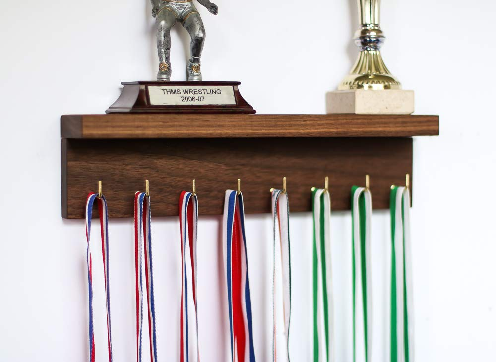 8 or 15 Hooks Cherry/Walnut NATURAL Solid Wood Trophy Metal Ribbon Display With Shelf Wall Holder Rack Hooks Awards Plaques for Sports Running Dancing Gymnastics and More!