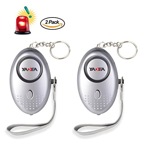 2Pack Personal Alarm 130db Emergency SOS Personal Alarm Selfdefense Device with LED Flashlight Safty Alarm for Woman, Kids, Elder,Students Bag Decoration by YADEA (Silver)