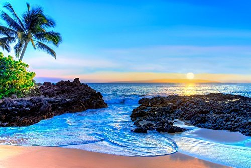 - Tropical Hawaiian Turquoise Beach Decor, Sunset Art, Makena Cove, Maui Hawaii