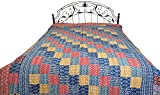 Multicolored Floral Printed Bedcover from Jodhpur with Patch-work All-Over and Kantha Straight Stitc - Color True Navy Color