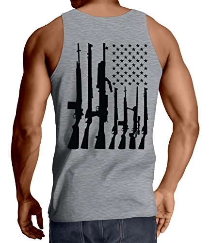 HAASE UNLIMITED Men's Big American Flag with Machine Guns Tank Top (Light Gray, Medium)