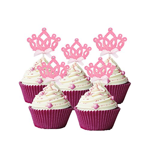 HOKPA Cupcake Toppers Glitter Crown Princess Cake Picks Decoration Dessert Table for Wedding Birthday Baby Shower Girls Kids' Party Decorations (20PCS Pink)