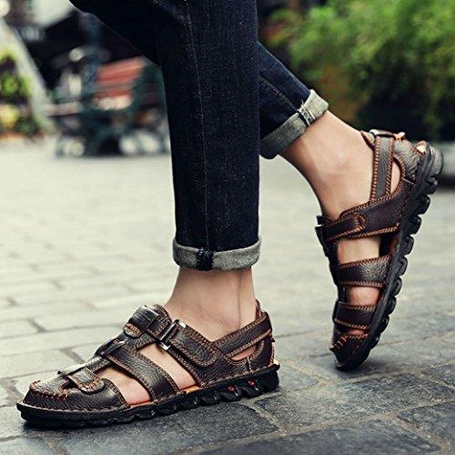 Yaer Hombres Sandalias de Cuero Zapatos de Playa Para los Hombres Con Velcro Zapatos de Verano Tamaño EU38-EU44(2 color) Marrón