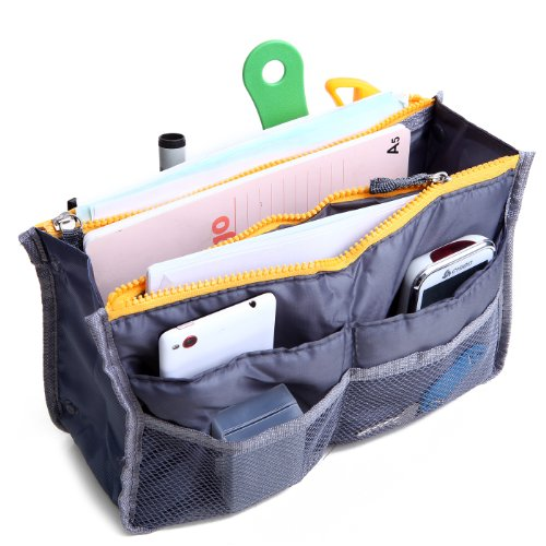 HDE Expandable Handbag Insert Purse Organizer with Handles (11X6.3X3.5) - Gray