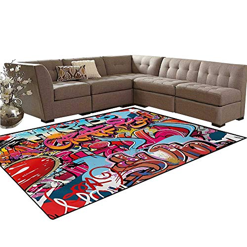 Hip Hop Play Carpet - Graphic Kids Carpet Play-mat Rug Hip Hop Street Culture Harlem New York City Wall Graffiti Art Spray Artwork Image Room Home Bedroom Carpet Floor Mat 6'6
