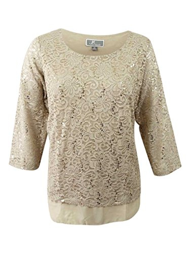 JM Collection Women's Plus Size Embellished Lace Tunic (3X, Pure Cashmere) from JM Collection