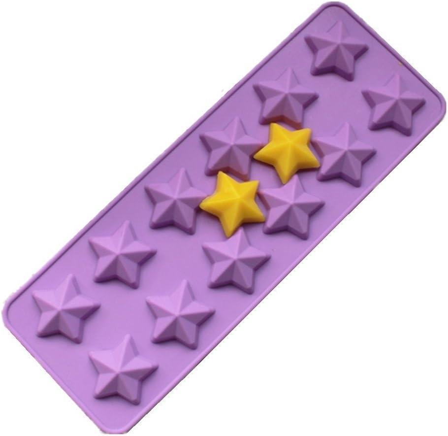 Allforhome Moule en silicone 12/cavit/és Id/éal pour confectionner des muffins//biscuits//chocolats//gla/çons//savons Motif /étoiles /à 5/branches