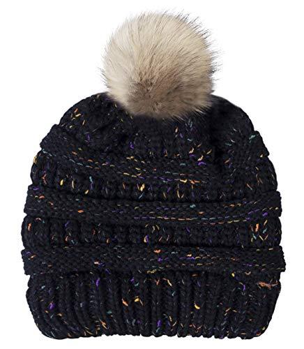 Fasker Womens Slouchy Winter Knit Beanie Hats Confetti Trendy Stretch Pom Pom Hat Ski Cap