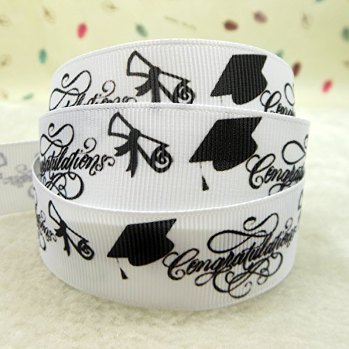mdribbons 7/8 Inch 50 Yards Graduation Day Congratulation Print Grosgrain Ribbon