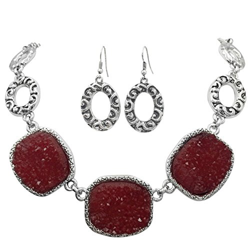 - Imitation Druzy Stone Abstract Ovals Swirls Boutique Style Necklace & Dangle Earrings Set - Assorted Colors (Cranberry Red)