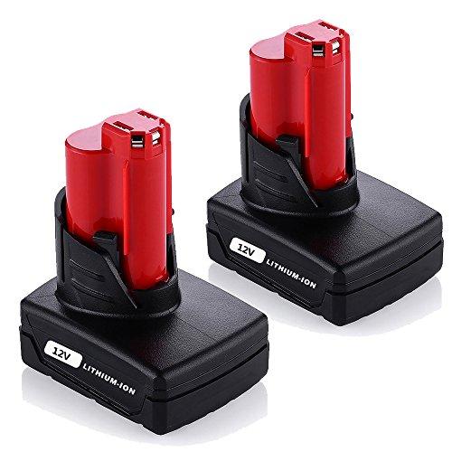 Topbatt 12V 4.0Ah Replacement Battery for Milwaukee M12 XC Cordless Tools 48-11-2440 48-11-2402 48-11-2411 2Packs by Topbatt